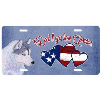 Siberian Husky License Plate - Woof