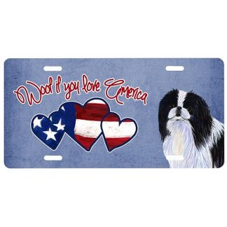 Japanese Chin License Plate - Woof