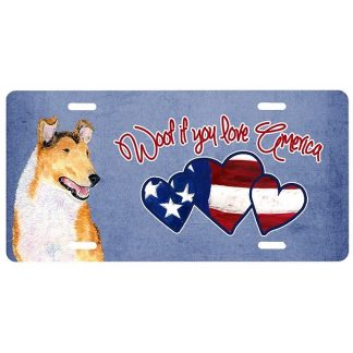 Collie License Plate - Woof (Smooth)