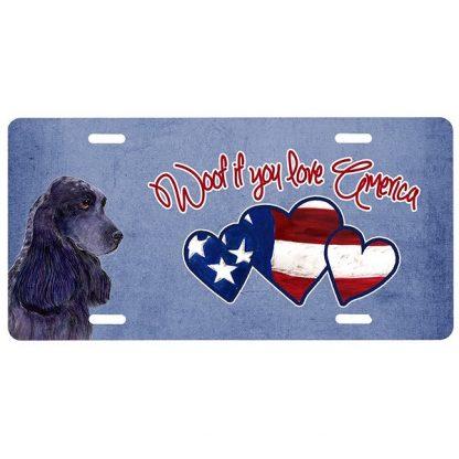 Black Cocker Spaniel License Plate - Woof