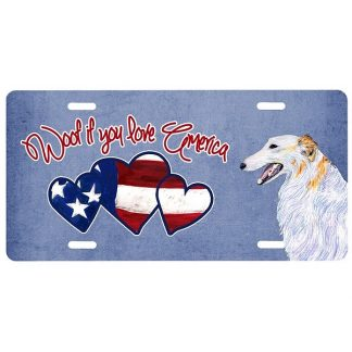 Borzoi License Plate - Woof