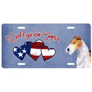 Wire Fox Terrier License Plate - Woof II