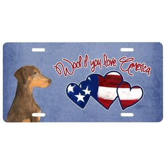 Doberman Pinscher License Plate - Woof III