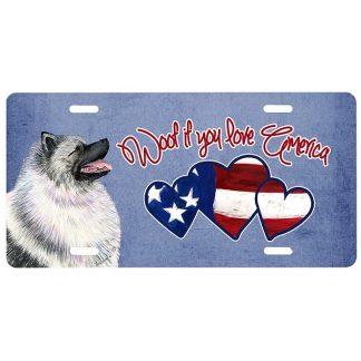 Keeshond License Plate - Woof