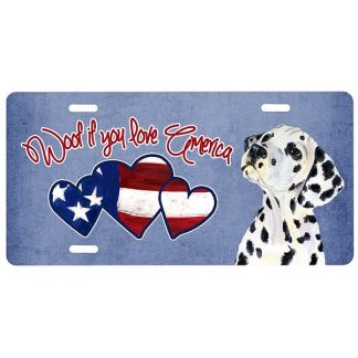 Dalmatian License Plate - Woof (Black)