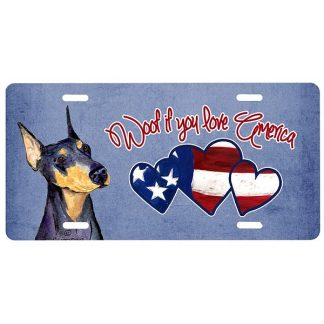 Doberman Pinscher License Plate - Woof IV