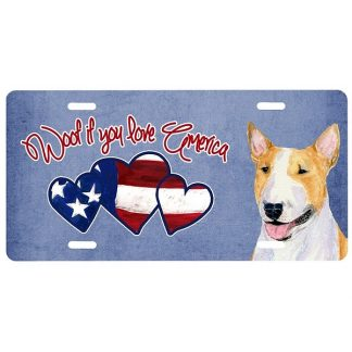 Bull Terrier License Plate - Woof