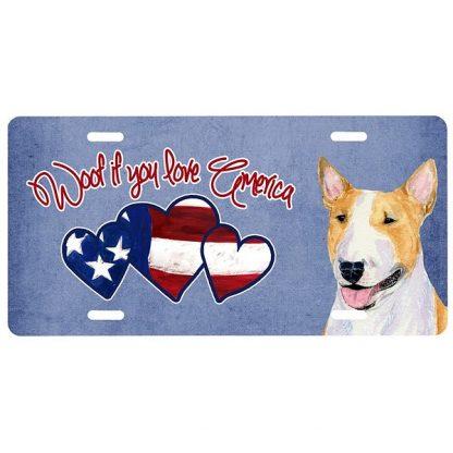 Bull Terrier License Plate - Woof