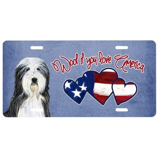 Bearded Collie License Plate - Woof