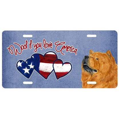 Chow Chow License Plate - Woof (Red)