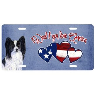 Papillon License Plate - Woof II