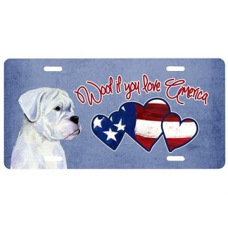 Boxer License Plate - Woof II (White)