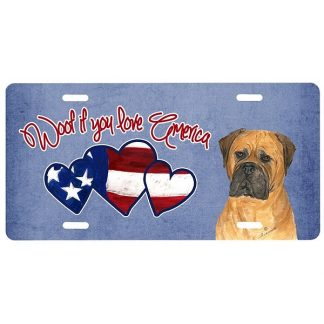Bullmastiff License Plate - Woof