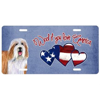 Bearded Collie License Plate - Woof II