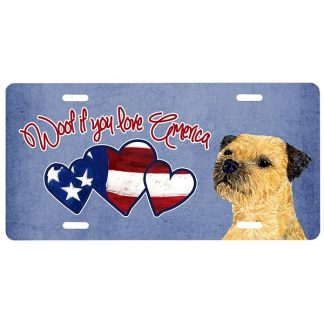 Border Terrier License Plate - Woof II