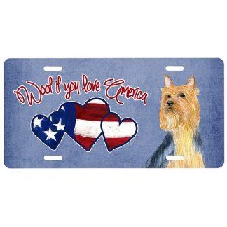 Silky Terrier License Plate - Woof