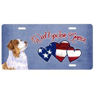 Red Merle Australian Shepherd License Plate - Woof