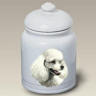 White Poodle Dog Treat Cookie Jar