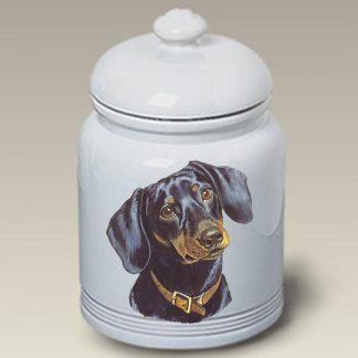 Dachshund Dog Treat Cookie Jar (Black & Tan)