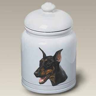 Doberman Pinscher Dog Treat Cookie Jar