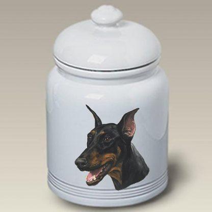 Doberman Pinscher Dog Treat Cookie Jar