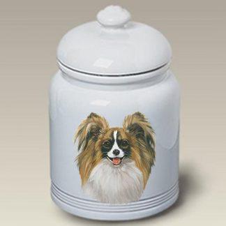Papillon Dog Treat Cookie Jar (Tri)