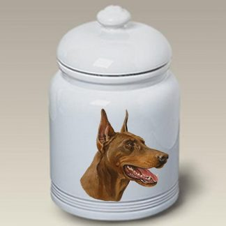 Doberman Pinscher Dog Treat Cookie Jar (Red)