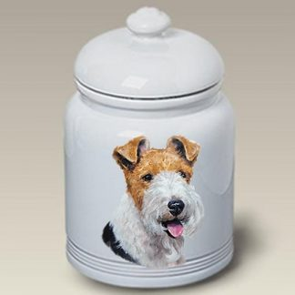 Wire Fox Terrier Dog Treat Cookie Jar