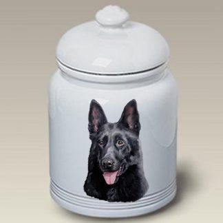 German Shepherd Dog Treat Cookie Jar (Black)
