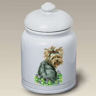 Yorkshire Terrier Dog Treat Cookie Jar - Flowers