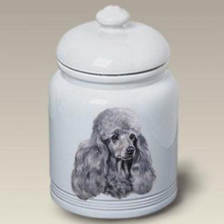 Silver Poodle Dog Treat Cookie Jar