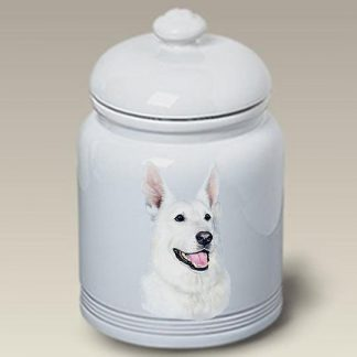 German Shepherd Dog Treat Cookie Jar (White)