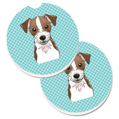 Jack Russell Terrier Car Coasters (Rough) - Blue (Set of 2)