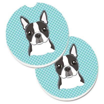 Boston Terrier Car Coasters - Blue (Set of 2)