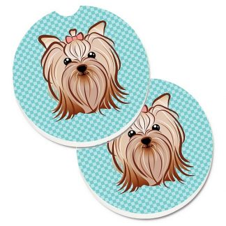 Yorkshire Terrier Car Coasters - Blue (Set of 2)