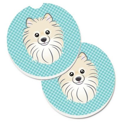 Pomeranian Car Coasters - Blue (Set of 2)