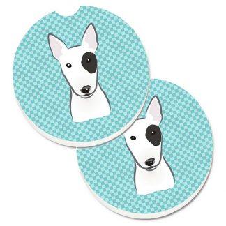Bull Terrier Car Coasters - Blue (Set of 2)