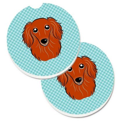 Longhaired Dachshund Car Coasters (Red) - Blue (Set of 2)
