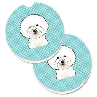 Bichon Frise Car Coasters - Blue (Set of 2)