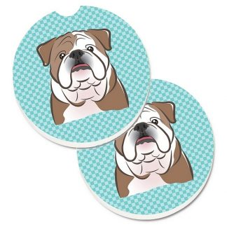 Bulldog Car Coasters - Blue (Set of 2)