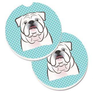 Bulldog Car Coasters (White) - Blue (Set of 2)