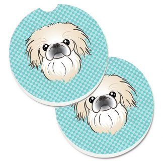 Pekingese Car Coasters - Blue (Set of 2)