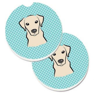 Yellow Lab Car Coasters - Blue (Set of 2)