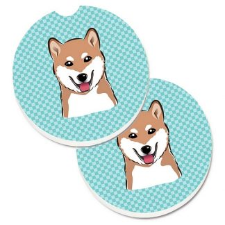 Shiba Inu Car Coasters - Blue (Set of 2)