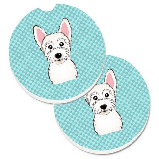 West Highland Terrier Car Coasters - Blue (Set of 2)