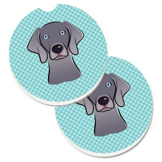 Weimaraner Car Coasters - Blue (Set of 2)