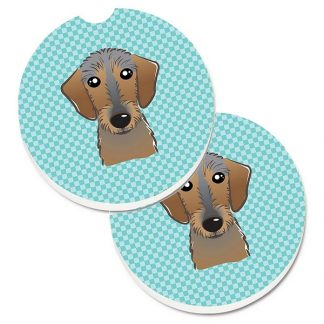 Wirehaired Dachshund Car Coasters - Blue (Set of 2)
