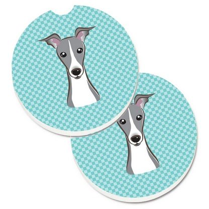 Italian Greyhound Car Coasters - Blue (Set of 2)