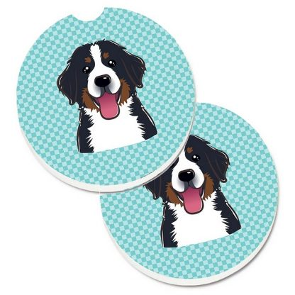 Bernese Mountain Dog Car Coasters - Blue (Set of 2)