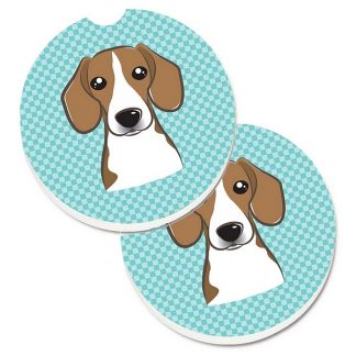 Beagle Car Coasters - Blue (Set of 2)